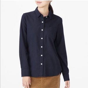 Muji Organic Cotton Flannel Button Down Navy
